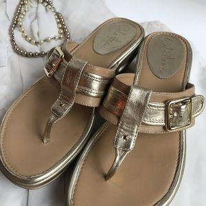 Cole Haan gold & tan wedge flip flop sandals- 7.5